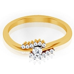 Gold Diamond Rings Natural Round Certified Diamond 0.22 Ct Everyday