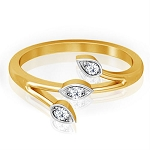 Diamond Gold Ring Natural Round Certified Diamond 0.11 Ct  Festive