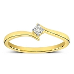 Gold With Diamond Ring Natural Round Certified Diamond 0.06 Ct Festive