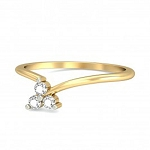 Gold With Diamond Ring Natural Round Certified Diamond 0.06 Ct Office Wear