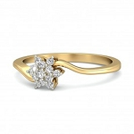 Gold With Diamond Ring Natural Round Certified Diamond 0.18 Ct Workwear