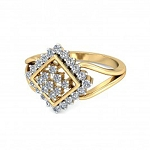 Diamond Ladies Ring Natural Round Certified Diamond 0.28 Ct Solid Gold  Office Wear