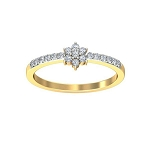 Gold Diamond Rings Natural Round Certified Diamond 0.38 Ct Workwear