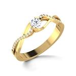 Gold Diamond Rings Natural Round Certified Diamond 0.33 Ct Festive