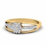 Ladies Diamond Ring Natural Round Certified Diamond 0.28 Ct Solid Gold  Office Wear