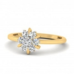 Gold With Diamond Ring Natural Round Certified Diamond 0.15 Ct Special Occasion