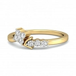 Ladies Diamond Ring Natural Round Certified Diamond 0.17 Ct Solid Gold  Workwear