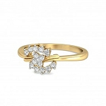 Diamond Ring For Ladies Natural Round Certified Diamond 0.28 Ct Solid Gold  Workwear