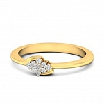 Gold Diamond Rings Natural Round Certified Diamond 0.14 Ct Office Wear