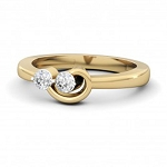 Diamond Gold Ring Natural Round Certified Diamond 0.12 Ct Weekend