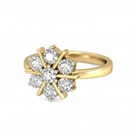 Gold Diamond Rings Natural Round Certified Diamond 0.21 Ct Vacation