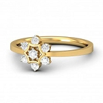 Ladies Diamond Ring Natural Round Certified Diamond 0.18 Ct Solid Gold  Office Wear