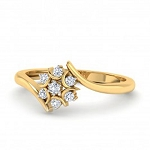 Gold With Diamond Ring Natural Round Certified Diamond 0.14 Ct Special Occasion