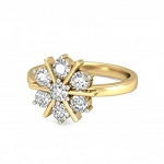 Diamond Ladies Ring Natural Round Certified Diamond 0.21 Ct Solid Gold  Party