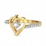Gold With Diamond Ring Natural Round Certified Diamond 0.3 Ct Festive