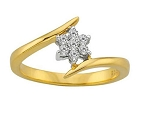 Gold With Diamond Ring Natural Round Certified Diamond 0.14 Ct Office Wear