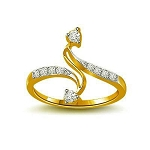 Diamond Gold Ring Natural Round Certified Diamond 0.14 Ct Festive