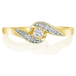 Gold Diamond Rings Natural Round Certified Diamond 0.25 Ct Everyday