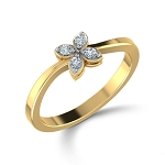 Diamond Ring For Ladies Natural Round Certified Diamond 0.1 Ct Solid Gold  Special Occasion