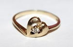 0.10 Ct Natural Diamond 14K Yellow Gold Heart Wedding Ring
