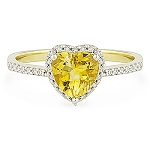 0.55 Ct Natural Diamond Topaz 14K Solid Yellow Gold Heart Ring