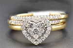 1.20 Ct Ij-Si2 Natural Diamond 14K Gold Heart Shape Ring Set