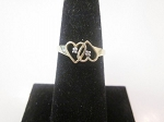 Double Heart 0.12 Ct Natural Diamond 14K Gold Anniversary Ring