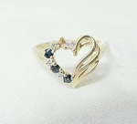 0.12 Ct Hi-Si1 Diamond 0.15 Ct B.Sapphire 14K Gold Heart Ring