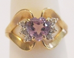 0.18 Ct Natural Diamond Amethyst 14K Gold Heart Ring