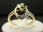 0.10 Ct Natural Diamond 14K Solid Yellow Gold Heart Ring