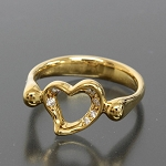 0.15 Ct Ij-Si1 Natural Diamond 14K Solid Yellow Gold Heart Ring