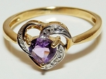 0.15 Ct Real Diamond Amethyst 14K Solid Yellow Gold Heart Ring