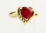 Real Diamond Red Ruby 14K Solid Yellow Gold Heart Ring