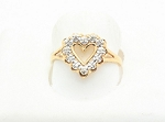 0.30 Ct Real Diamond 14K Yellow Gold Heart Anniversary Ring