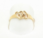 0.10 Ct Real Diamond 14K Yellow Gold Heart Anniversary Ring