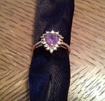 0.25 Ct Real Diamond Amethyst 14K Yellow Gold Heart Ring