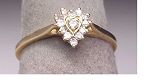 0.30 Ct Natural Diamond 14K Gold Heart Anniversary Ring