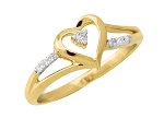 Heart 0.18Ct Round Diamond 14K Yellow Goldanniversary Gift Ring