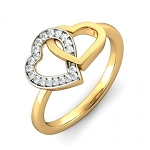Double Heart 0.42 Ct Round Diamond 14K Solid Gold Ring