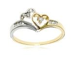 0.20 Ct Natural Diamond 14K Gold Double Heart Ring