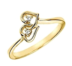 Double Heart Natural Diamond 14K Solid Yellow Gold Ring
