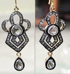 Antique Drop Earrings 1.89 Ct Natural Certified Diamond 925 Sterling Silver Party