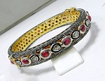 Vintage Diamond Bracelet 6.8 Ct Natural Certified Diamond 4 Ct Ruby 925 Sterling Silver Weekend