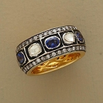 Victorian Antique Engagement Rings 2.8 Ct Natural Certified Diamond Ct Blue Sapphire 925 Sterling Silver Weekend