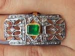 Vintage Victorian Engagement Rings 1.5 Ct Natural Certified Diamond 0.5 Ct Emerald 925 Sterling Silver Party