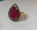 Antique Style Diamond Engagement Rings 1.05 Ct Natural Certified Diamond 1.5 Ct Ruby 925 Sterling Silver Workwear