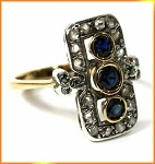 Antique Diamond Wedding Rings 1.15 Ct Natural Certified Diamond 0.75 Ct Blue Sapphire 925 Sterling Silver Vacation