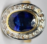 Antique Looking Engagement Rings 0.88 Ct Natural Certified Diamond 2 Ct Blue Sapphire 925 Sterling Silver Office Wear