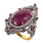 Victorian Engagement Rings 1.74 Ct Natural Certified Diamond 3.4 Ct Ruby 925 Sterling Silver Weekend