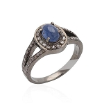 Vintage Style Wedding Rings 1.15 Ct Natural Certified Diamond 1 Ct Blue Sapphire 925 Sterling Silver Special Occasion